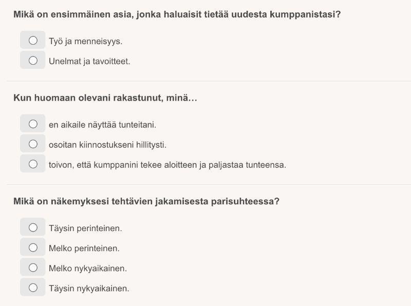 Persoonallisuustesti kysymyksiä
